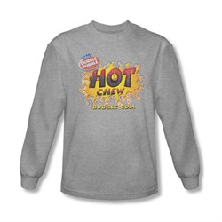 Double Bubble Shirt Hot Chew Long Sleeve Athletic Heather Tee T-Shirt