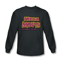 Double Bubble Shirt Mega Mouth Long Sleeve Charcoal Tee T-Shirt
