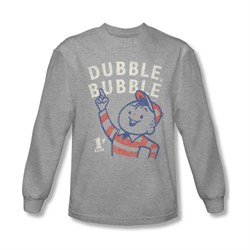 Double Bubble Shirt Pointing Long Sleeve Athletic Heather Tee T-Shirt