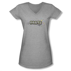 Farts Candy Shirt Juniors V Neck Finger Logo Athletic Heather T-Shirt