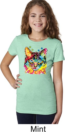 Girls Cat Shirt Blue Eyes Cat Tee T-Shirt