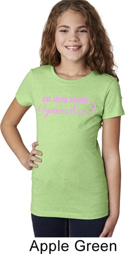 Girls Gymnast Shirt Eat Sleep Breathe Gymnastics Tee T-Shirt