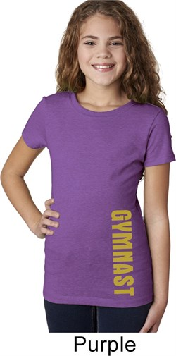 Girls Gymnastics Shirt Gold Shimmer Gymnast Bottom Print Tee T-Shirt