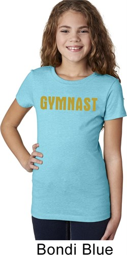 Girls Gymnastics Shirt Gold Shimmer Gymnast Tee T-Shirt