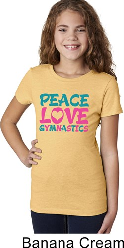 Girls Gymnastics Shirt Peace Love Gymnastics Tee T-Shirt