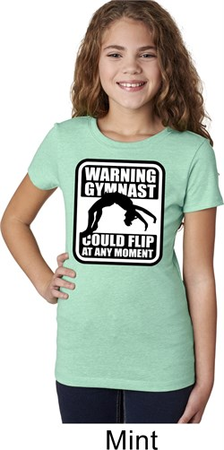 Girls Gymnastics Shirt Warning Gymnast Could Flip Tee T-Shirt