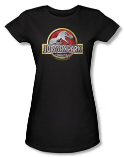 Jurassic Park Juniors T-shirt Movie Logo Black Tee Shirt