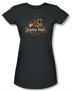 Jurassic Park Juniors T-shirt Movie Retro Rex Charcoal Tee Shirt