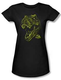 Jurassic Park Juniors T-shirt Movie Rex Dinosaur Mount Black Tee Shirt