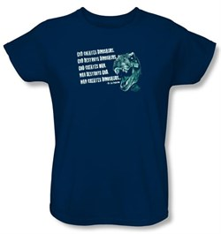 Jurassic Park Ladies T-shirt Movie God Creates Dinosaurs Navy Shirt