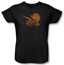Jurassic Park Ladies T-shirt Movie Tri Dinosaur Mount Black Tee Shirt