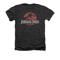 Jurassic Park Shirt Faded Logo Adult Heather Charcoal Tee T-Shirt