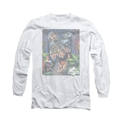 Jurassic Park Shirt Giant Door Long Sleeve White Tee T-Shirt