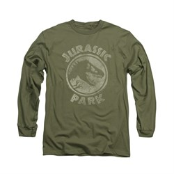 Jurassic Park Shirt Jp Stamp Long Sleeve Military Green Tee T-Shirt