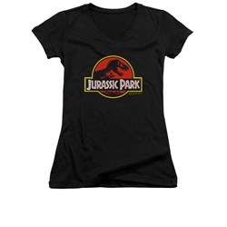 Jurassic Park Shirt Juniors V Neck Classic Logo Black Tee T-Shirt