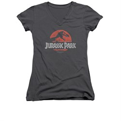 Jurassic Park Shirt Juniors V Neck Faded Logo Charcoal Tee T-Shirt