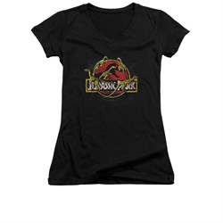 Jurassic Park Shirt Juniors V Neck Something Has Survived Black Tee T-Shirt