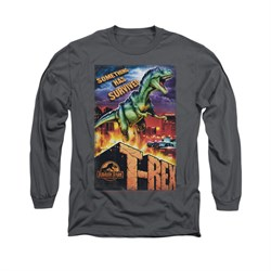Jurassic Park Shirt Rex In The City Long Sleeve Charcoal Tee T-Shirt