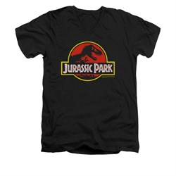 Jurassic Park Shirt Slim Fit V Neck Classic Logo Black Tee T-Shirt