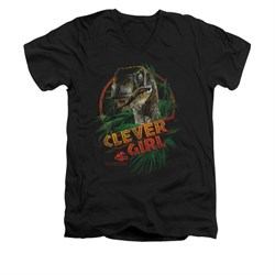 Jurassic Park Shirt Slim Fit V Neck Clever Girl Black Tee T-Shirt
