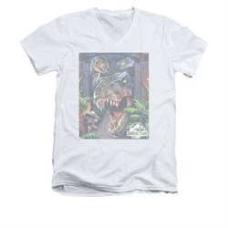 Jurassic Park Shirt Slim Fit V Neck Giant Door White Tee T-Shirt