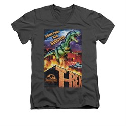 Jurassic Park Shirt Slim Fit V Neck Rex In The City Charcoal Tee T-Shirt