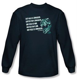 Jurassic Park T-shirt God Creates Dinosaur Adult Navy Long Sleeve Tee