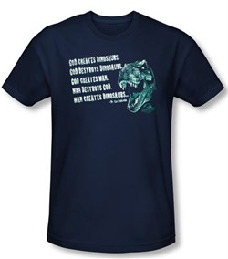 Jurassic Park T-shirt God Creates Dinosaurs Adult Navy Slim Fit Shirt