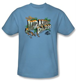 Jurassic Park T-shirt Greetings From JP Adult Carolina Blue Tee Shirt