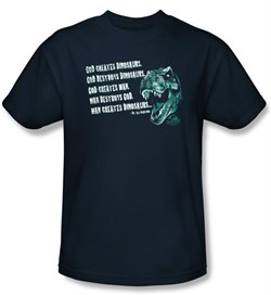 Jurassic Park T-shirt Movie God Creates Dinosaurs Adult Navy Tee Shirt