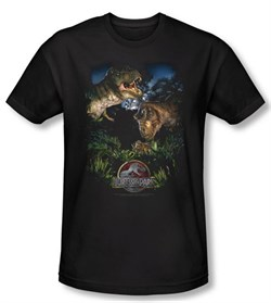 Jurassic Park T-shirt Movie Happy Family Adult Black Slim Fit Shirt