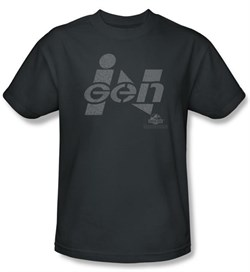 Jurassic Park T-shirt Movie Ingen Logo Adult Charcoal Tee Shirt