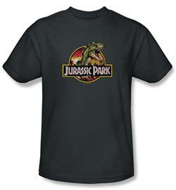Jurassic Park T-shirt Movie Retro Rex Adult Charcoal Tee Shirt
