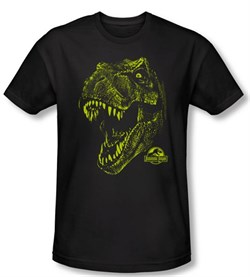 Jurassic Park T-shirt Rex Dinosaur Mount Adult Black Slim Fit Shirt