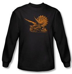 Jurassic Park T-shirt Tri Dinosaur Mount Adult Black Long Sleeve Tee