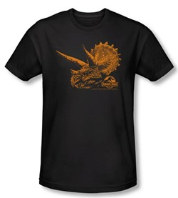Jurassic Park T-shirt Tri Dinosaur Mount Adult Black Slim Fit Shirt