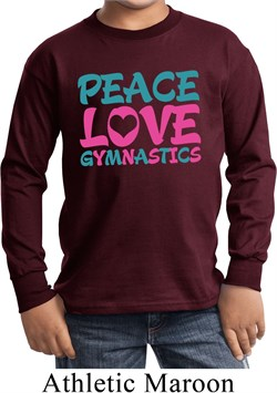 Kids Gymnast Shirt Peace Love Gymnastics Long Sleeve Tee T-Shirt