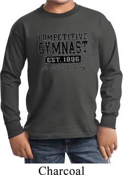 Kids Gymnastics Shirt Competitive Gymnast Long Sleeve Tee T-Shirt