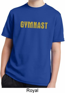 Kids Gymnastics Shirt Gold Shimmer Gymnast Moisture Wicking T-Shirt