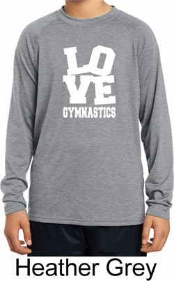 Kids Gymnastics Shirt Love Gymnastics Dry Wicking Long Sleeve T-Shirt