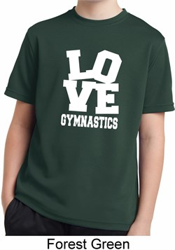 Kids Gymnastics Shirt Love Gymnastics Moisture Wicking Tee T-Shirt
