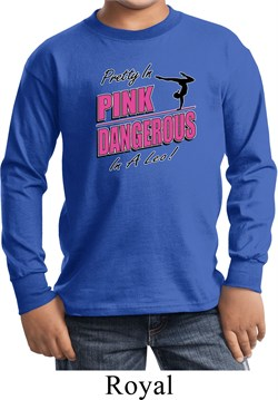 Kids Gymnastics Shirt Pretty in Pink Long Sleeve Tee T-Shirt