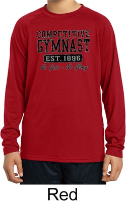 Kids Shirt Competitive Gymnast Dry Wicking Long Sleeve Tee T-Shirt