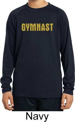 Kids Shirt Gold Shimmer Gymnast Dry Wicking Long Sleeve Tee T-Shirt