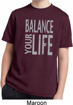 kids yoga shirt balance your life moisture wicking tee t-shirt