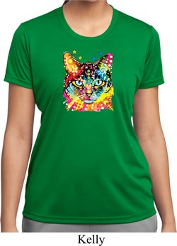 Ladies Cat Shirt Blue Eyes Cat Moisture Wicking Tee T-Shirt