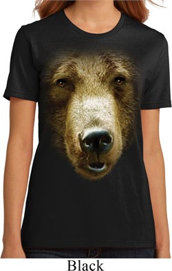Ladies Grizzly Bear Shirt Big Grizzly Bear Face Organic T-Shirt