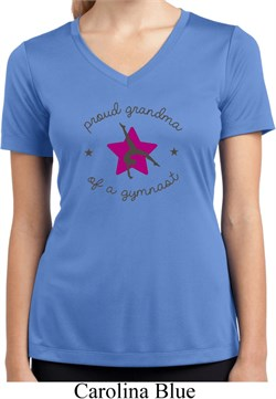 Ladies Gymnast Shirt Proud Grandma Moisture Wicking V-neck Tee T-Shirt