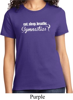 Ladies Gymnast Shirt White Eat Sleep Breathe Gymnastics Tee T-Shirt