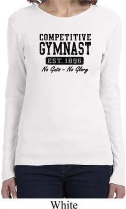 Ladies Gymnastics Shirt Competitive Gymnast Long Sleeve Tee T-Shirt